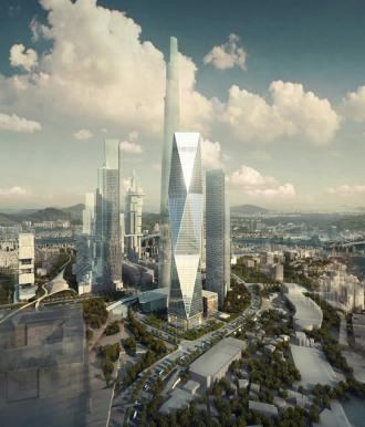 diagonal tower by SOM, seoul, korea