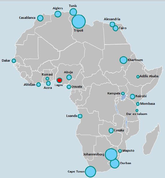 הערים הצומחות ביותר באפריקה