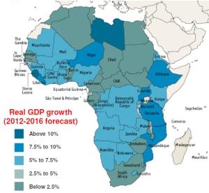 הצמיחה באפריקה 2012-2016