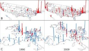 הערים המובילות בייצור ובצריכת ידע ב-1990 וב-2009