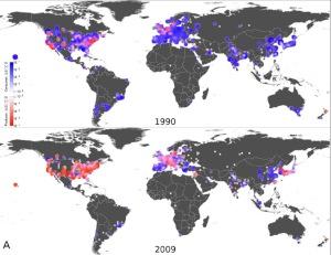 יצירת וצריכת ידע מדעי ב1990 וב-2009 בעולם