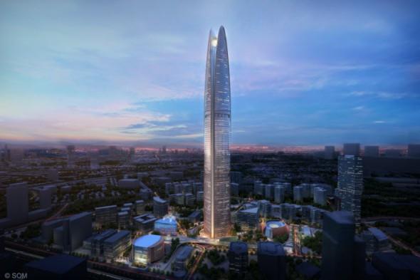 המגדל שכולל תחנת כוח מונעת רוח