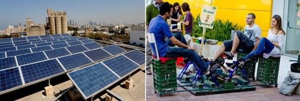 קמפוס האקדמית תל אביב יפו. מימין שבוע פתיחת שנה בסימן ירוק, משמאל הפאנלים הסולארים