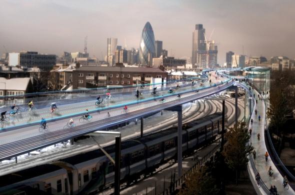 רשת נתיבי אופניים מעל רחובות לונדון