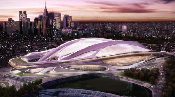 האצטדיון האולימפי המתוכנן בטוקיו. זאהה חדיד