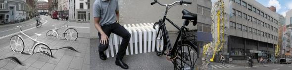 חניות אופניים: חנייה אנכית, ספסל/חנייה, מדרכה/חנייה