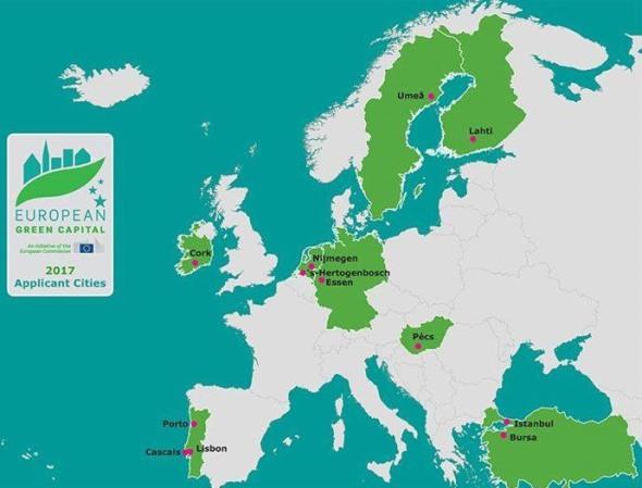 המתמודדות על תואר הבירה הירוקה של אירופה 2017