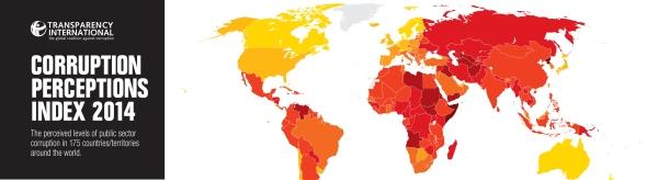 המדינות המושחתות בעולם 2014 מפה